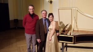Amy Kao pictured with NEC Faculty John Gibbons (center) and Allan Winkler (builder of harpsichord.